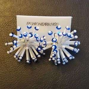 Jewelry - Boutique Blue and White Starburst Fashion Earrings